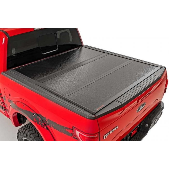 Rough Country Hard Low Profile Tri Fold Tonneau Cover Ford F150 5 5 Bed 2015 2016 2017 2018 2019 2020