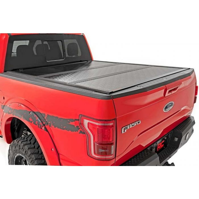 Rough Country Hard Low Profile Tri Fold Tonneau Cover Toyota Tundra 2002 2003 2004 2005 2006 2007 2008 2009 2010 2011 2012 2013 2014 2015 2016 2017 2018 2019