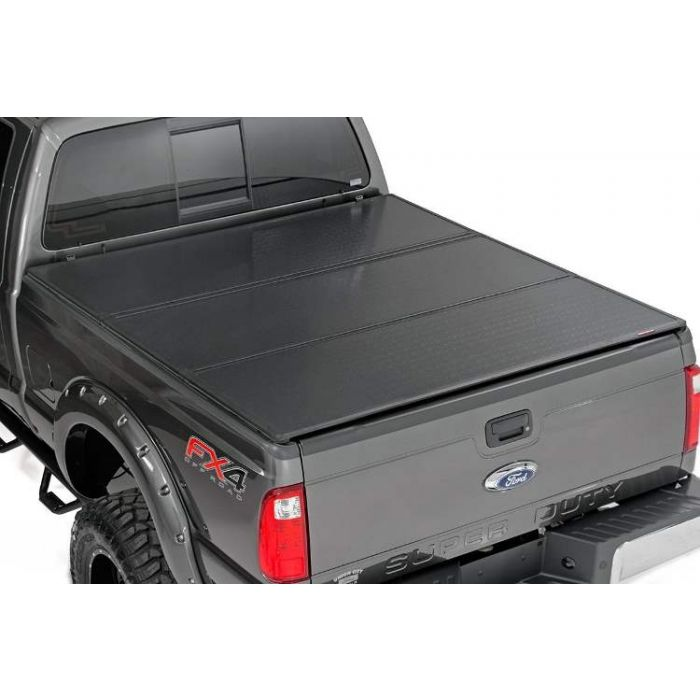 Rough Country Hard Tri Fold Tonneau Cover Ford F250 F350 Super Duty 6 5 Ft Bed 2017 2018 2019 2020