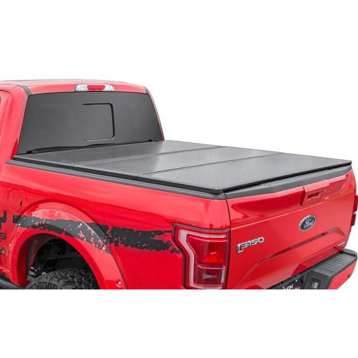 Rough Country Hard Tri Fold Tonneau Cover Ford F150 8 Ft Bed 2015 2016 2017 2018 2019 2020
