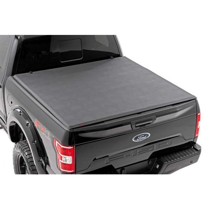 Rough Country Soft Tri Fold Tonneau Cover Ford F150 5 5 Ft Bed 2009 2010 2011 2012 2013 2017